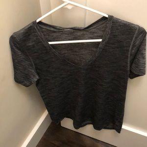 Lululemon v neck size 6 charcoal grey shirt GUC